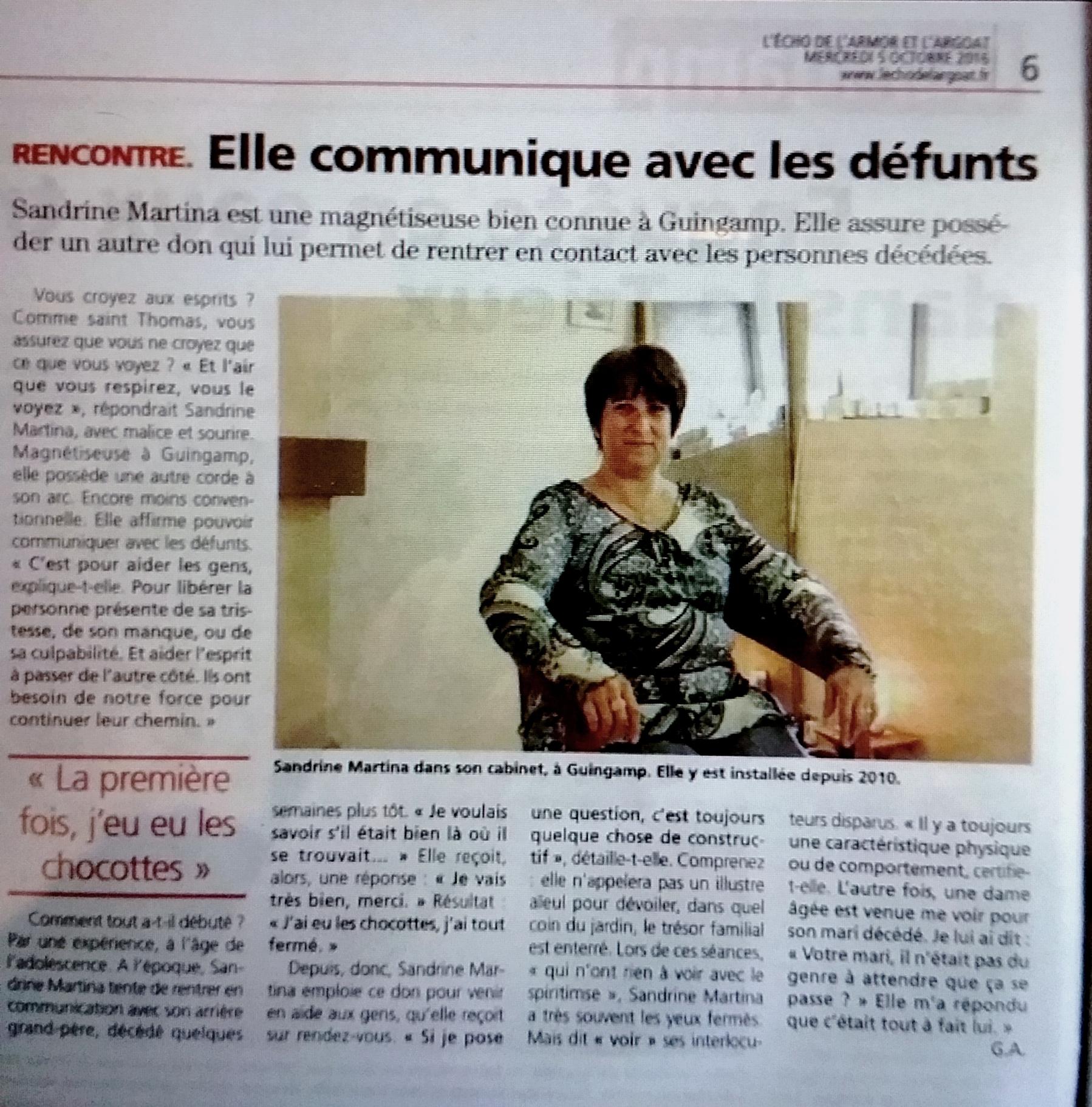Sandrine MARTINA, l'Echo de l'Armor et de l'Argoat