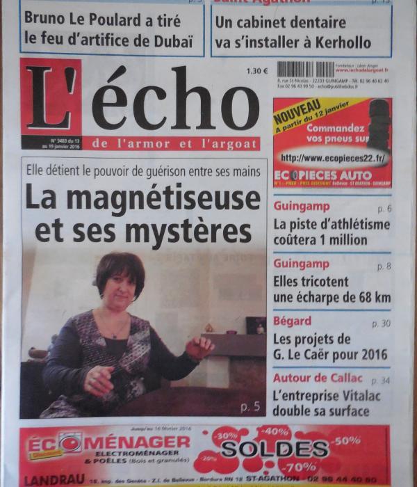 Cliquer pour lire Article presse https://actu.fr/bretagne/guingamp_22070/a-la-une-de-lecho-du-13-janvier-les-mysteres-de-la-magnetiseuse-de-guingamp_7227315.html
